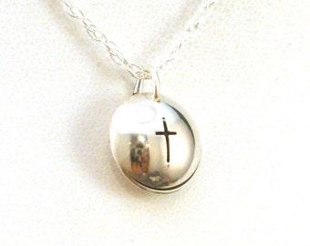 Simple Cross Sterling Silver Slide Locket in Sterling Silver, Tiny Silver Locket Necklace, Christian Whisper Locket