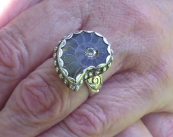 R192--Ammonite with CZ Ring---size 7.5--Free Sizing--- Gemstone, Vintage Style -Handmade