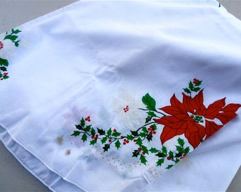 """Vintage Red White Christmas Tablecloth Poinsettias Flowers White Cotton Fabric Oval Table Linen Red Berries Holly Xmas Cloth 81"""" x 60"""""""