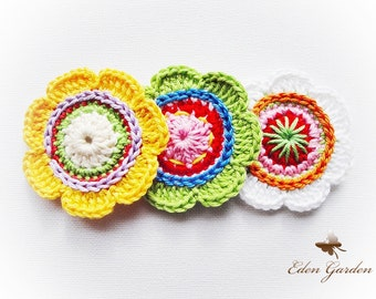 Set of  6 Simple  Colorful Crochet Flowers