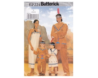 Costume for Adults men Women Bust 30 1/2-44 Chest 30-48 American Indian Pochahontas Sacagawea Couple outfit UNCUT Sewing Pattern Butterick