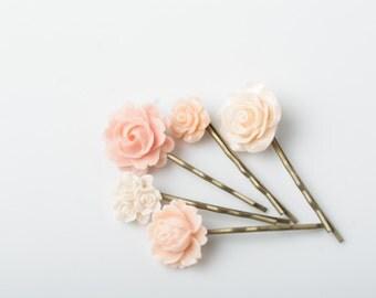 Peach Flower hair pins,  Peach wedding accessories, Set of 5, vintage hair accessories, rose hair pins, light peach, shabby chic