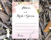 Instant Download- Advice for the Bride & Groom, printable game, Wedding shower game, bridal shower game, bridal shower, soft pink roses