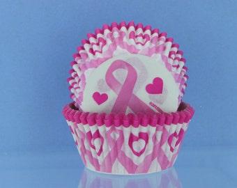 Pink Awareness Ribbon Cupcake Liners / Wrappers