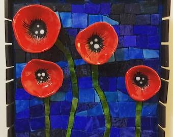 Poppy mosaic wall art Ready to ship