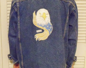 Denim Jacket Eagle Embroidery Mens Medium Sean John Brand Motorcycle Jacket Reclaimed Denim Machine Decorated Gift for Him