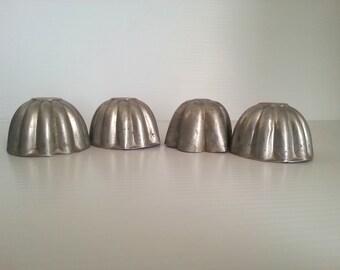 4 vintage aluminum dessert molds . vintage aluminum molds . baking supplies . vintage jello molds . vintage kitchen decor . cottage kitchen