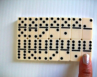 unopened . retro games . miniature dominoes . vintage ivory and black dot dominoes . pocket size . mini dominoes . miniature games supplies