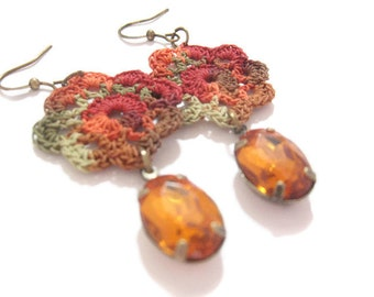 Crochet Earrings, Autumn Spice, Faceted Drop Gems, Motif Earrings, Crochet Motif, Fall Earrings, Vintage Drop Gems, Egyptian Cotton