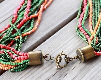 Handmade Beaded Multi Strand  Necklace