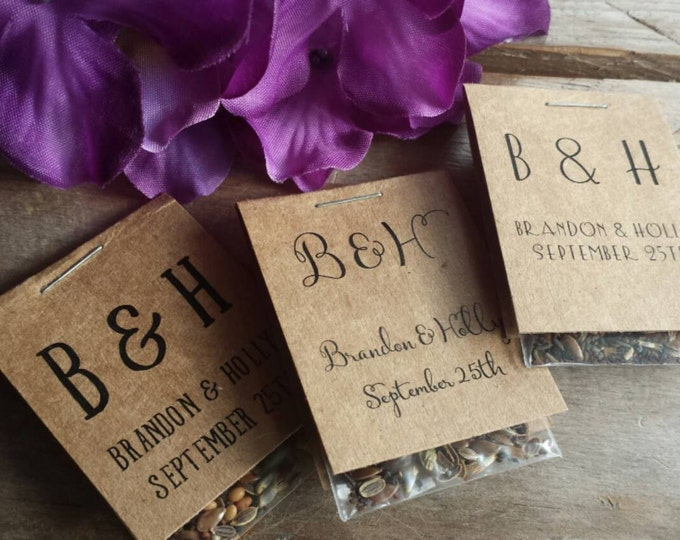 60 Personalized MINI Bridal Shower Flower Seed Packet Favors Wildflower Seeds Love is in Bloom Wedding Favors Rehearsal Dinner Thank You
