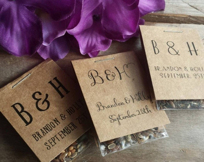 70 Personalized MINI Bridal Shower Flower Seed Packet Favors Wildflower Seeds Love is in Bloom Wedding Favors Rehearsal Dinner Thank You