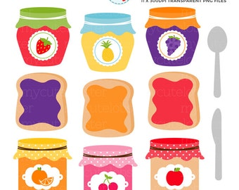 Jam & Toast Clipart Set - jam jars clip art set, toast, jelly, breakfast, preserves - personal use, small commercial use, instant download