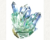 "Quartz with Fuschite 1 -  5"" x 7"" Watercolor Art Print #0008"