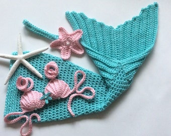 Crochet mermaid photo prop, 5 sizes, handmade, baby shower mermaid gift, mermaid baby outfit, 3 piece set, mermaid costume