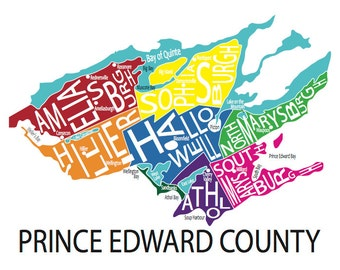 Typographic Map of Prince Edward County, Ontario