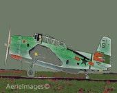 Airplane Art 2, Boy or Child's Room or Nursery, Gray Green Orange, 5x7 or 8x10