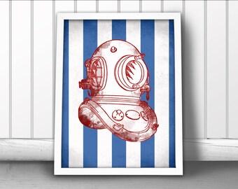 Divers Helmet Art Print, Nautical Art Print, Diving Helmet Art Print, Nautical Sea Diver Print, Diver Helmet Print, Deep Sea Diver Helmet