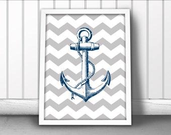 Nautical Anchor Art Print, Chevron Nautical Art Print, Ship Anchor Art Print, Nautical Ocean Art Print, Nautical Art Anchor Poster, Anchor