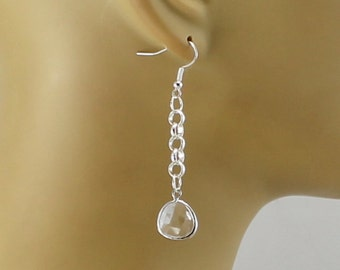 Silver Chain Earrings with Crystal Dangles.