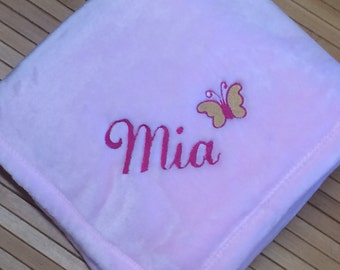 Embroidered Personalized Butterfly Monogrammed Baby Girl Blanket