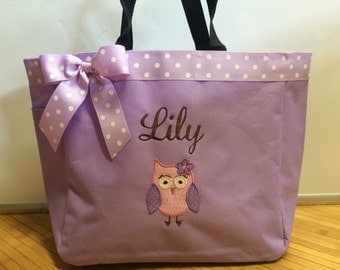 Personalized Baby Girl Flower Owl Diaper Bag Tote
