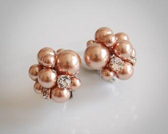 Rose Gold Pearl Cluster Bridal Earrings, Swarovski Crystal and Pearl Earrings, Pearl Cluster Stud Earrings, Vintage Style Jewelry, EUNICE