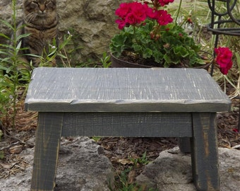 "distressed gray rustic farmhouse step stool 8"" - 10"" H"