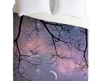 Duvet Cover. Purple Home Decor. Bedroom Decor. Starry Night Sky. Star Bedding. Stars & Moon. Dorm. Dreamy. Girly. Tree Branches