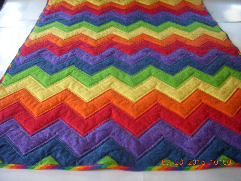 rainbow color lap quilt handmade zig zag toddler child quilt