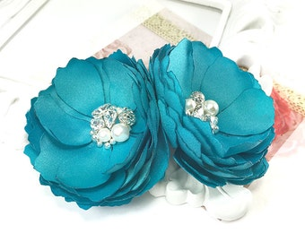 Turquoise Satin Flowers for Hair, Shoe Clip For a Bride, Brooch Pin Bridesmaids Gift, Flower Girl, Special Event, Photo Prop - Kia