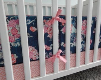 Crib Bumper Pads - Shown in Nisi Flora in Oceanon with Quartz Coral Piping and Ties - Navy Floral Skopelos Collection