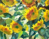 Original oil painting of flowers. Flower painting. Sunflowers in summer 2015. Evening.