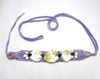 Purple Belt Cinch Waist Shell Twist Braid White Shell