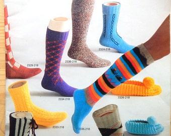 Vintage 1975 Bernat Sock Knitting Pattern Book: 17 Sock Patterns Adult and Child