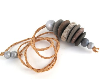 Stacked Stone Necklace Rock Jewelry Mediterranean Stone Cairn Pendant River Stone Long Necklace Adjustable Hemp Cord Zen Stones - CARYA