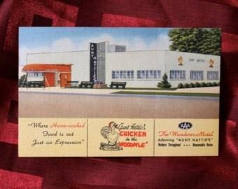 Postcard Wanderer Motel Aunt Hatties Chicken In The Woodpile St Petersburgh Auto Travel Food Tourist Art Colortone Curteich 1C H870 Advert