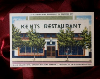 Postcard Kents Restaurant Atlantic City NJ 1950's Food Auto Vintage Linen Car Tourist Dining Art Color Advertising Railroad Union Station