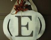 Pumpkin letter wreath Fall Door Hanger -CHOOSE LETTER
