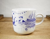 BOATHOUSE - Schiffer cup - porcelain coffee mug, tea cup by Ahoi Marie - nautical cup - maritime style - blue and white - navy blue