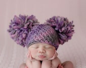 Crochet Baby Hat/ Newborn Photography Prop/ Double Pom Pom Beanie/100% Natural Chunky Wool/ COMPLIMENTARY SHIPPING