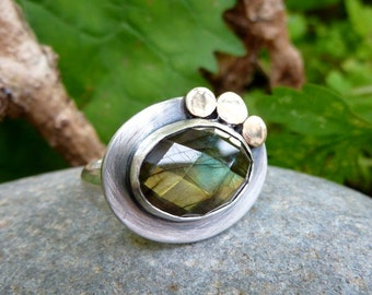 Silver and Gold Triple Moon Ring with Labradorite.