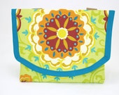 Bicycle Bag In Bold Multicolor Print of Flower-like Medallions