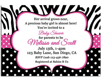 Pink Polka Dot Zebra Invitation Printable or Printed with FREE SHIPPING - Baby Shower or Any Wording