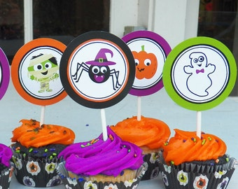 Halloween Cupcake Toppers Small Party Circles - Instant Download - Ghosts and Ghouls Collection