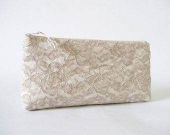 Tan Lace Wedding Clutch, Clutch for Bride or Bridesmaid, Bridal Shower Gift, Valentine's Gift, Wholesale Clutches