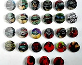 Buy 5 Get 1 FREE--Comic Pin Back Buttons Featuring TMNT Teenage Mutant Ninja Teenagers Hellboy
