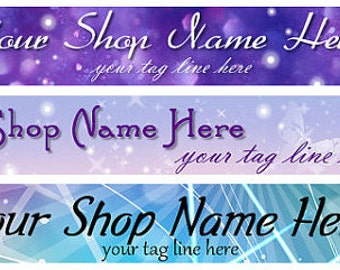 Large Etsy Facebook Artfire Cover Photo  Ready Made Purple Sparkle Butterfly Shop Banner - Pick one