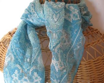 Vintage aqua 26 in square scarf scroll design ladies neck scarf fashion