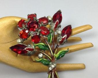 Vintage Pot Metal Rhinestone Flower Brooch